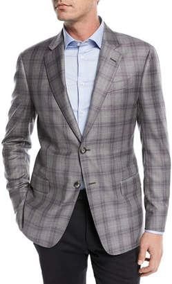 Emporio Armani Two-Button Windowpane Blazer, Gray