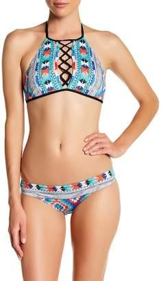 Jets Aztec Print Tie Strap Bikini Top