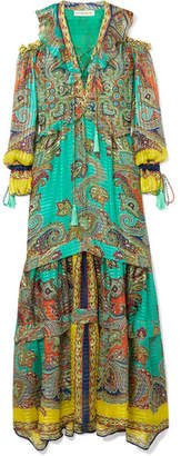 Etro Printed Silk Maxi Dress - Turquoise