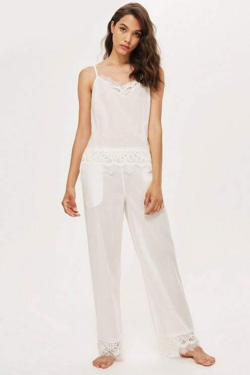 Premium cotton and lace pyjama trousers