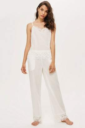 Topshop Premium Cotton and Lace Pyjama Trousers