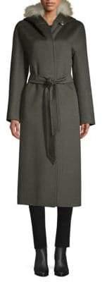 Golden Fox Fur-Trim Hooded Coat