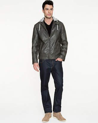 Le Château Leather-Like Hooded Moto Jacket