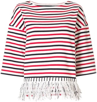 Coohem fringed striped T-shirt