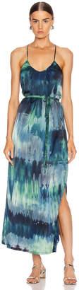 Raquel Allegra Pintuck Slip Dress in Jade Tie Dye | FWRD