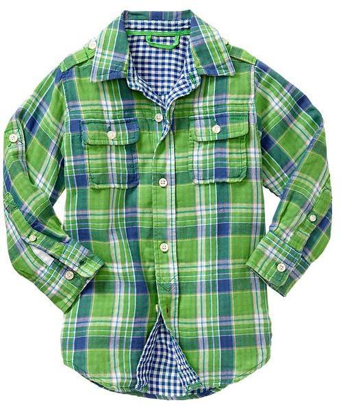Gap Convertible green plaid shirt