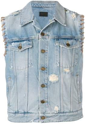 Saint Laurent leather stitched denim jacket