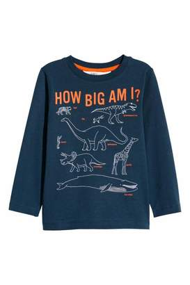 H&M Long-sleeved Jersey Shirt - Dark blue/dinosaurs - Kids