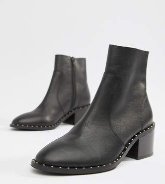 Asos Design Realm Leather Mid Ankle Boots