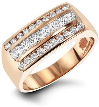 Mens Round & Princess Cut Diamond Ring 1.3ct 14k Rose Gold Wedding Band Ring