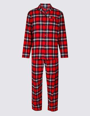 Marks and Spencer Brushed Cotton Checked Christmas Pyjama Set