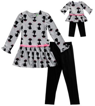 Dollie & Me Kitty Long Sleeve Tunic And Legging, 2-Piece Outfit Set With Matching Doll Outfit (Little Girls And Big Girls)