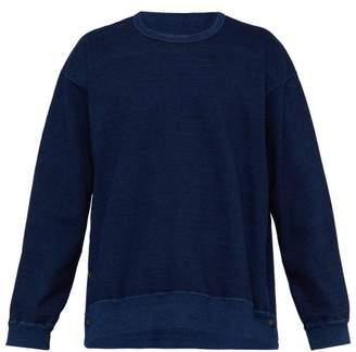 Kuro - Press Stud Side Seam Oversized Cotton Sweatshirt - Mens - Indigo