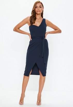 Missguided Navy One Shoulder Tie Midi Dress