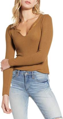 Project Social T Aria Notch Neck Ribbed Top