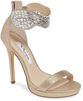 Nina Fayth Jeweled Ankle Cuff Sandal