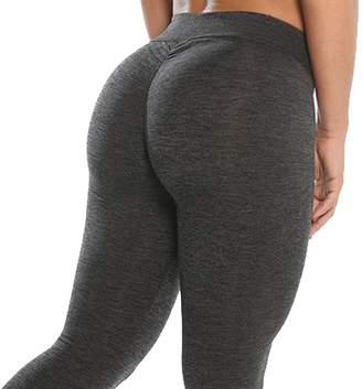 CROSS1946 Women's High Waist Back Ruched Legging Butt Lift Yoga Pants M