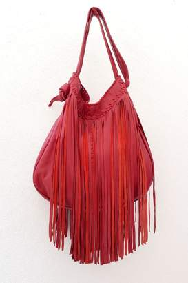 Areias Leather Red Fringes Bag
