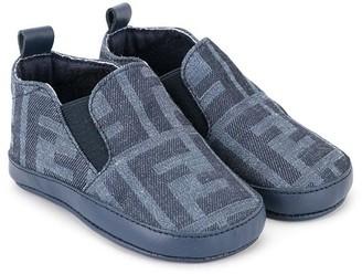 Fendi slip-on jacquard boots