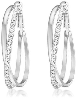 Gemini Ladies Jewerly White Gold Plated Big Round Hoop Crystal Pierced EarringsGm032Rg , Size: 5cm Color: Silver