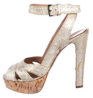 Alaà ̄a Embossed Leather Platform Sandals Gold Alaà ̄a Embossed Leather Platform Sandals