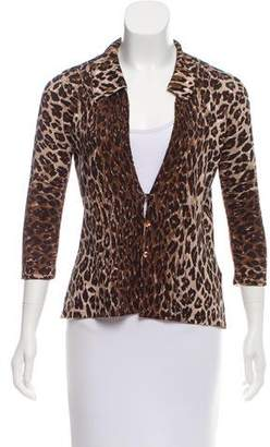 Dolce & Gabbana Leopard Printed V-Neck Cardigan