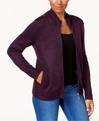 Karen Scott Long-Sleeve Zip Cardigan