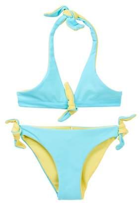 Snapper Rock Aqua Yellow Reversible Bikini (Toddler, Little Girls, & Big Girls)