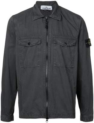 Stone Island pocket front zip shirt