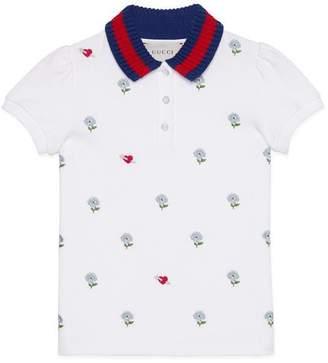 Gucci Children's embroidered cotton polo