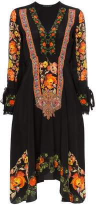 Etro Floral print lace trim silk V-neck dress