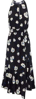 Derek Lam 10 Crosby Belted Floral-Print Silk Midi Dress