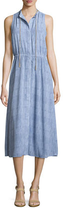 MICHAEL Michael Kors Classic-Wash Ruffle-Hem Maxi Dress, Carmel Blue $175 thestylecure.com