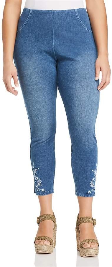 Lysse Plus Cooper Embroidered Denim Leggings
