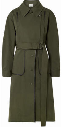 Jason Wu GREY - Convertible Leather-trimmed Cotton-blend Twill Coat - Army green