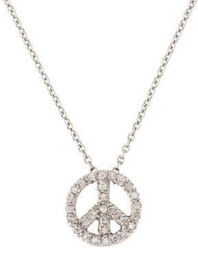 14K Diamond Peace Sign Pendant Necklace