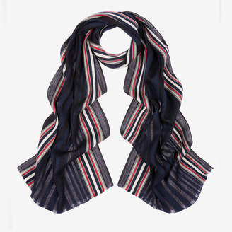 Bally Tonal Jacquard Stripe Scarf Multicolor, Men's wool scarf in multi-blue navy