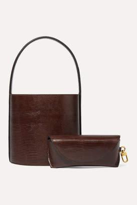 STAUD Bissett Lizard-effect Leather Bucket Bag - Dark brown