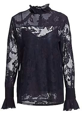 See by Chloe Women's Lace Overlay Long-Sleeve Blouse