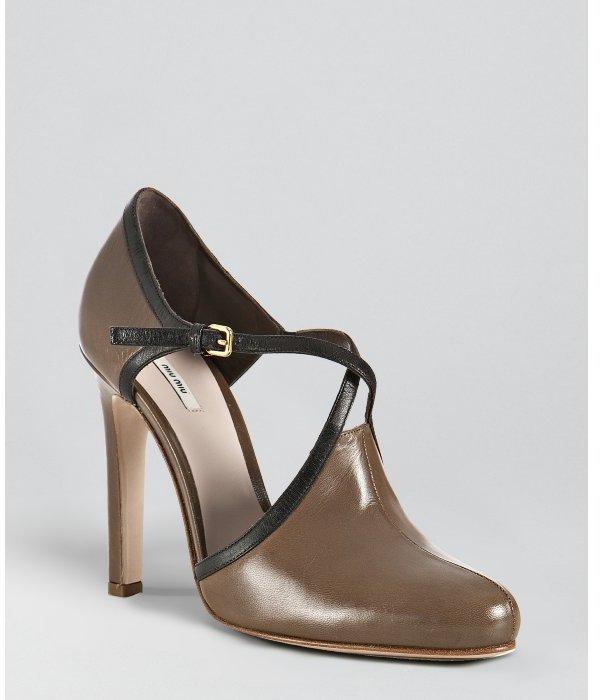 Miu Miu Miu light brown leather cut-out pumps