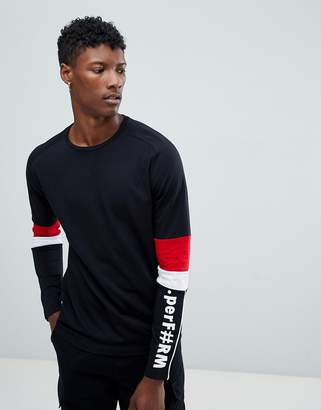 Jack and Jones Core Long Sleeve T-Shirt With Arm Panel Stripes