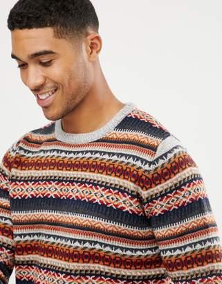 Pull&Bear fair isle sweater in gray