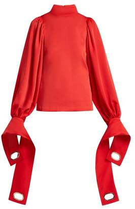 Self-Portrait Self Portrait Exaggerated Cuff Satin Blouse - Womens - Red