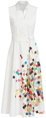 Akris Punto Sleeveless Pixel Print Belted Shirtdress