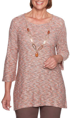 Alfred Dunner Sunset Canyon Womens Scoop Neck 3/4 Sleeve Tunic Top