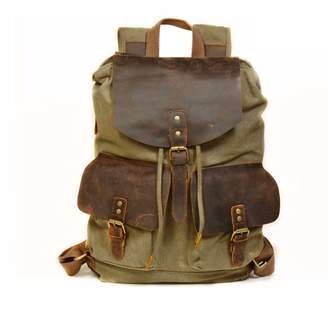 EAZO - Vintage Style Canvas Leather Backpack in Green