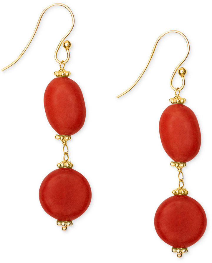 14k Gold over Sterling Silver Earrings, Dyed Red Aventurine Double-Drop Earrings (22-1/2 ct. t.w.)
