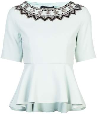 Sally Lapointe embellished neckline peplum top