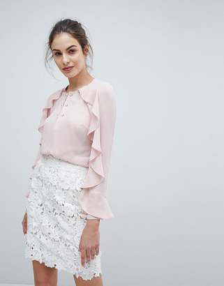 Lipsy Ruffle Detail Top With Pearl Trim