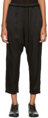 Raquel Allegra Black Satin Dropped Inseam Lounge Pants
